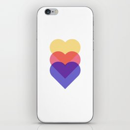 colorful hearts - blue red and yellow iPhone Skin