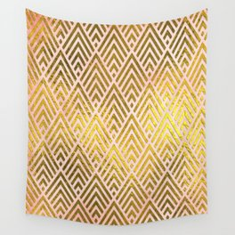 Gold foil triangles on pink - Elegant and luxury triangle pattern Wall Tapestry