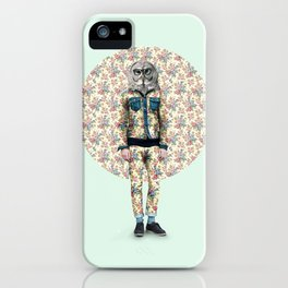 Hipster Owl Man iPhone Case