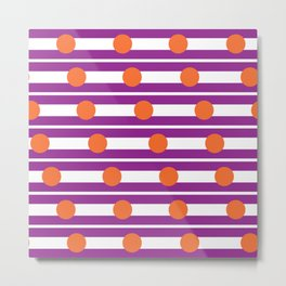 Geometric Stripe & Spot Purple & Orange Metal Print