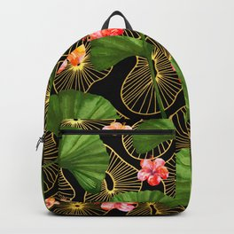 Beautiful Ginko Print with Hibiscus Flowers Backpack