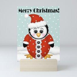 Cute Penguin in Santa Suit Mini Art Print