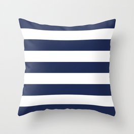 Space cadet - solid color - white stripes pattern Throw Pillow