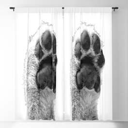 Black and White Dog Paw Blackout Curtain