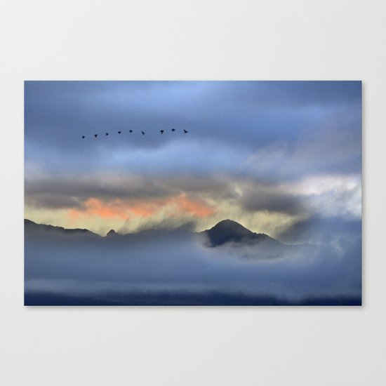 """""""Sunrise at the mountains"""". Birds in the morning. Canvas Print"""