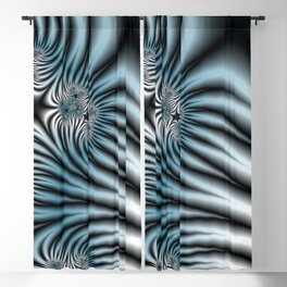 Blue Zebra Fractal Blackout Curtain