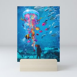 Electric Jellyfish in a Aquarium Mini Art Print