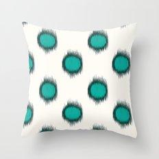 Ikat Dots Teal Throw Pillow