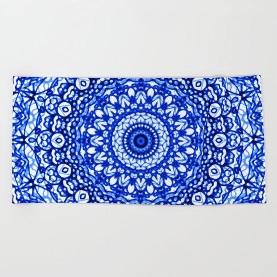 Blue Mandala Mehndi Style G403 Beach Towel