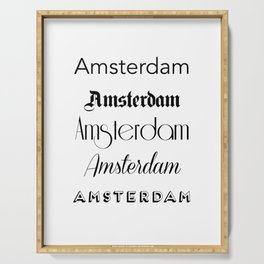 Amsterdam City Quote Sign, Calligraphy Text Art, World City Typography Print, Wall Art Decor Serving Tray