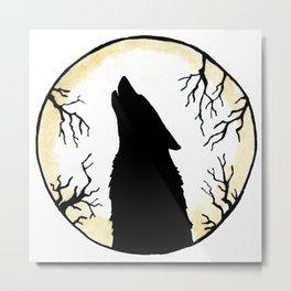 Wolf Moon Silhouette Metal Print