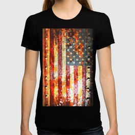 American Flag On Rusted Riveted Metal Door T-shirt