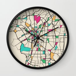 Colorful City Maps: Osaka, Japan Wall Clock