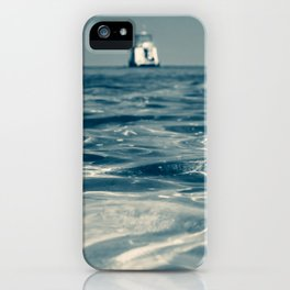 Change of Perspective. Boat on the Horizon and Ocean Ripples in Monochrome. iPhone Case