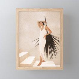 Minimal Woman with a Palm Leaf Framed Mini Art Print