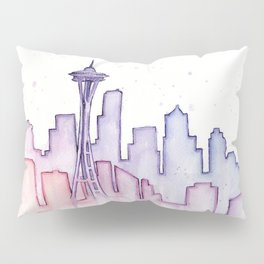 Seattle Skyline Watercolor Pillow Sham