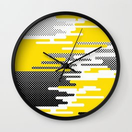 Yellow White Black Halftone Wall Clock