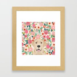 Labrador Retriever yellow lab floral pattern cute florals dog breed pure breed dog lover gifts Framed Art Print