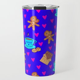Lovely sweet gingerbread men cookies, chocolate bars, cups of hot cocoa, pink hearts winter pattern Travel Mug