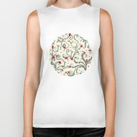 floral pattern Biker Tanks featuring Floral pattern by nefos