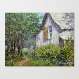 Whitewashed – Palette Knife Barn Painting Canvas Print