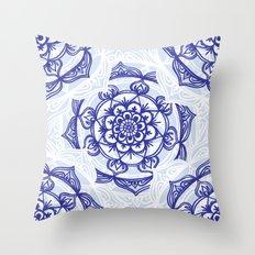 Blue Mandala Outlines Throw Pillow