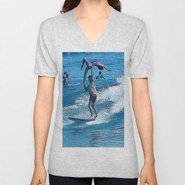 Mary & John Surfing #2 Unisex V-Neck