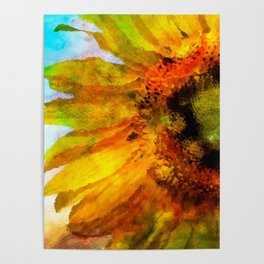 Sunflower on colorful watercolor background - Flowers Poster