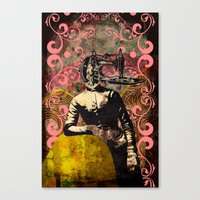 sewing Canvas Prints featuring Sewing by jnk2007