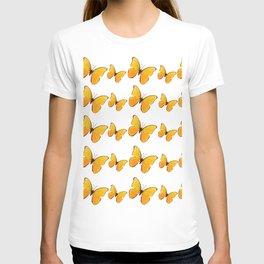 DECORATIVE WHITE  ART OF YELLOW BUTTERFLIES T-shirt