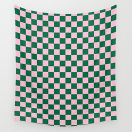 Cotton Candy Pink and Cadmium Green Checkerboard Wall Tapestry