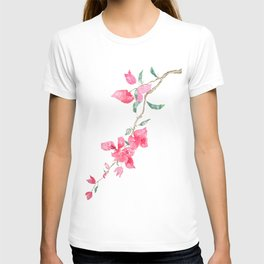 red  pink  bougainvillea watercolor T-shirt
