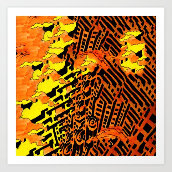 Nightmares:  City Asleep in the Raging Inferno Art Print