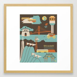 San Francisco Landmarks Pattern  Framed Art Print