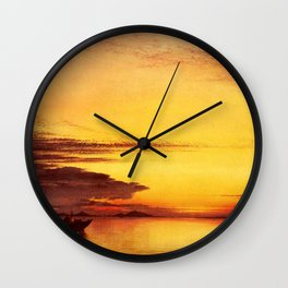 Red Sunset On The Lagoon Of Venice, Italy by Edward William Cooke Oil Painting Wall Clock
