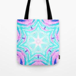 Pink & Blue Star Explosion Light Tote Bag