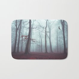 Solstice in Fog - Woodlands in Winter Mist Bath Mat