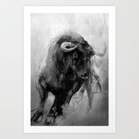 bull Art Prints featuring BULL by MikakoskArts