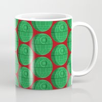 death star Mugs featuring Star Wars Christmas Death Star by foreverwars