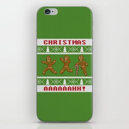 Ugly Christmas Sweater Scared Gingerbread Men Green iPhone Skin