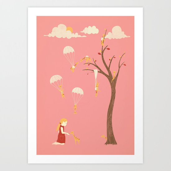 Invasion of the Tiny Giraffes   (alternate colors) Art Print