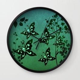'Skullerflies in the Garden' Wall Clock