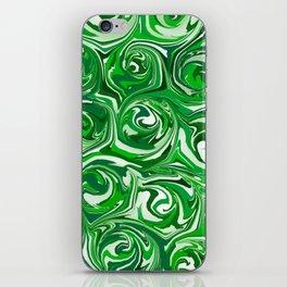 Emerald Green, Green Apple, and White Paint Swirls iPhone Skin