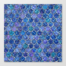 Sparkly Shades of Blue & Silver Glitter Mermaid Scales Canvas Print