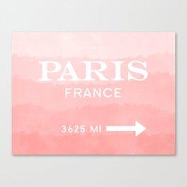 peach ombre watercolor Paris france Canvas Print