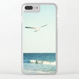 Seagull Bird Ocean Photography, Seagulls Beach Coastal, Aqua Blue Seascape Sea Clear iPhone Case