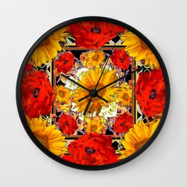 ORANGE-RED POPPIES DECORATIVE SUNFLOWERS FLORAL Wall Clock
