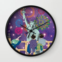 Hokusai People Seeing Statue of Liberty & Fireworks in Universe Wall Clock