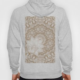 Butterfly on mandala in iced coffee tones Hoody