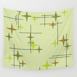 Mid Century Modern Stars Chartreuse Wall Tapestry